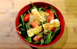 Bumpercrop - Spinach, Tomato and Comfort Cream Salad with Mostarda Nectarine Vinaigrette